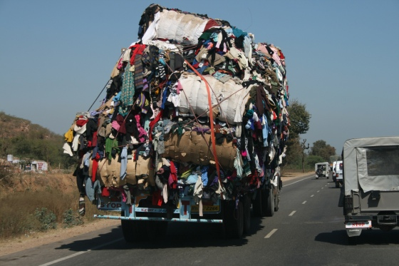 truck loaded and loaded with cloths
