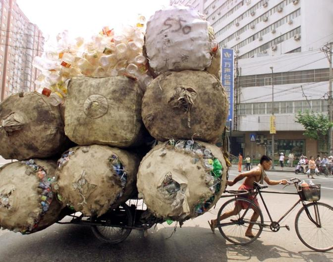 overloaded motorcycle 5 recyclables-cart-shanghai-china